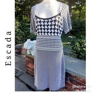 ESCADA Houndstooth Knit Dress L